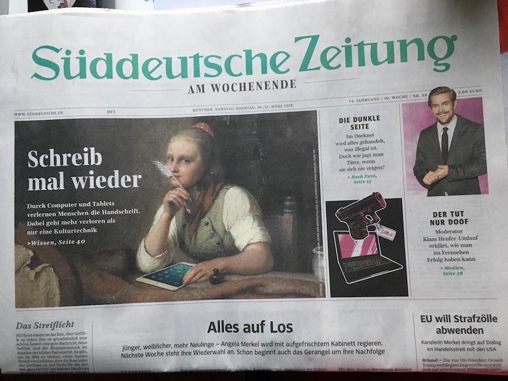 Vom Wert der Handschrift - © Judith Schallenberg / Ausschnitt SZ 10./11.3.18