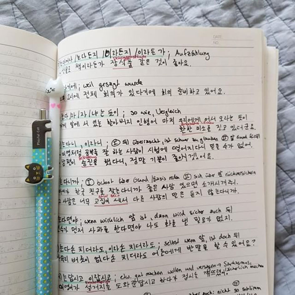 Elenas Koreanisch-Notizen. © Elena Kubitzki