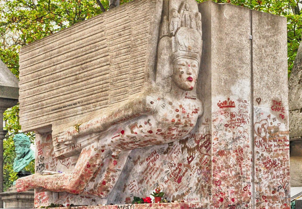 Das Grabmal von Oscar Wilde auf dem Friedhof Pére Lachaise in Paris. Copyright: Pixabay