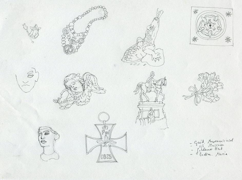 Zeichnungen für die Adventskalender entstehen als Skizzen. Copyright: Astrid Lange