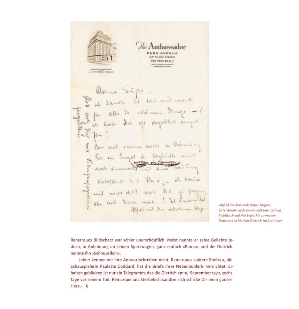 """Auszug aus """"Schreiben Sie mir, oder ich sterbe"""": Erich Maria Remarque schreibt Marlene Dietrich aus dem Ambassador Hotel, New York 1949. Copyright: Piper Verlag"""