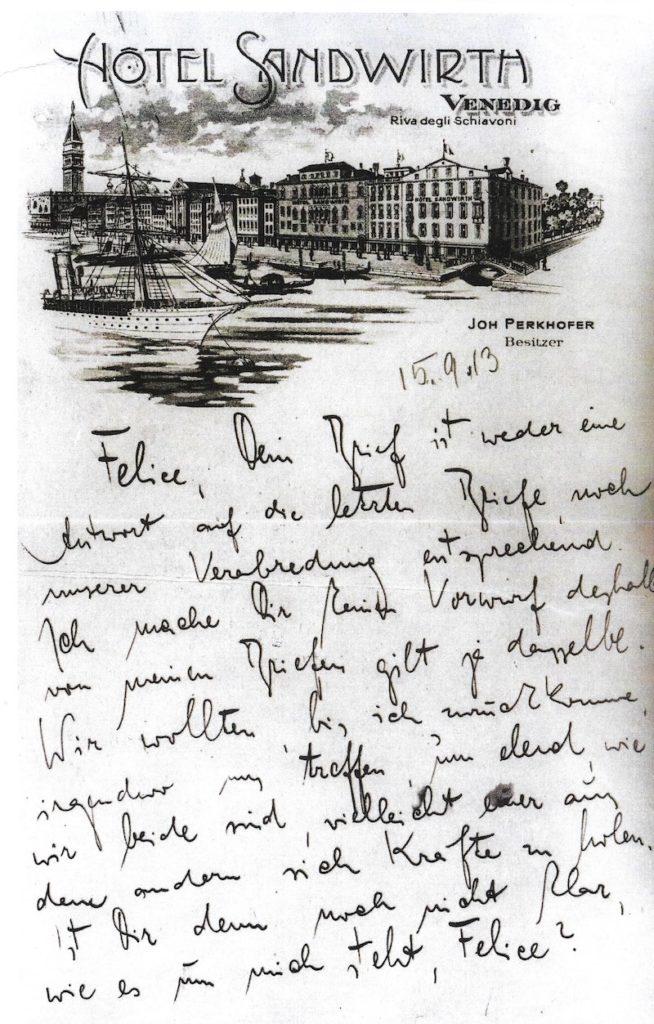 Kafka: Brief an seine Geliebte aus dem Hotel Gabrielli Sandwirth, Venedig