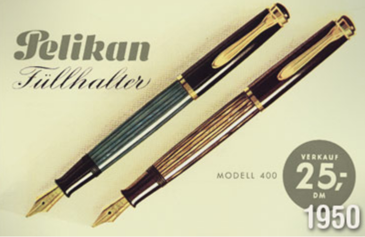 """A Pelikan """"Modell 400"""" in a German ad from the 1950-s. Credits: Pelikan"""